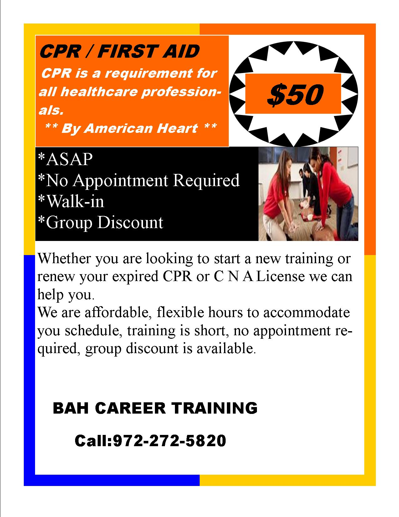Bah career training garland tx 972 272 5820 discount cprfirst aid asapwalk in click here to print out flyer xflitez Images